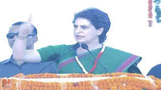 Congress General Secretary Priyanka Gandhi Vadra addresses a public meeting at Ambala, Haryana