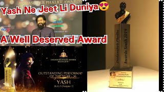 Yash Won Dadasaheb Phalke Awards South 2019 For Outstanding Performance Of The Year