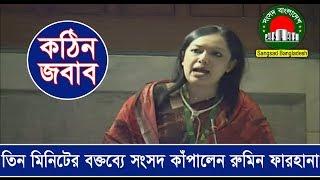 তিন মিনিটের বক্তব্যে সংসদ কাঁপালেন বিএনপির রুমিন ফারহানা | Barrister Rumeen Farhana in Parliament