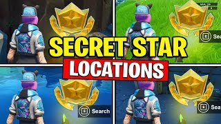 ALL SECRET BATTLE STARS Season 10 - Fortnite Week 1 to 8 Locations (SEASON X)