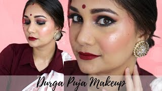 Durga Puja Makeup | Traditional Bengali Makeup Look | Easy & Glowy Brown Smoky Eyes for beginners