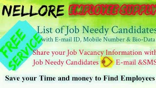 NELLORE   EMPLOYEE SUPPLY   ! Post your Job Vacancy ! Recruitment Advertisement ! Job Information 12