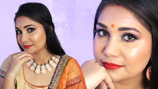 Easy & Glowy Festive / Durga Puja / Wedding Guest Makeup Using Affordable Products for Beginners