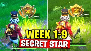 ALL SECRET BATTLE STARS Season 10 - Fortnite Week 1 to 9 Locations (SEASON X)