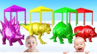 Dinosaurios y Animales Salvajes Que Nadan en la Piscina y Cambian de Color - Videos Para niños