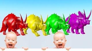 Animales salvajes que comen frutas y cambian de color y juegan - Videos Para niños.