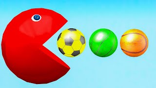 Learn Colors With Pac Man Eating Different Ball And Change Color - Videos Para niños.