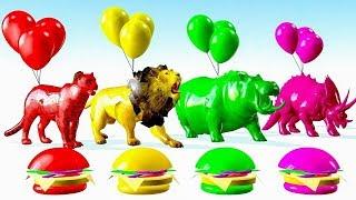 Animales Salvajes Jugando Con globos y colores cambiantes - Videos Para niños.