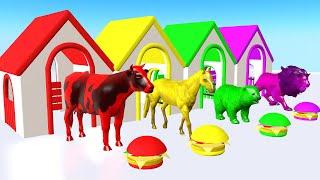 Animales de granja comiendo hamburguesas y transformados en animales coloridos - Para niños