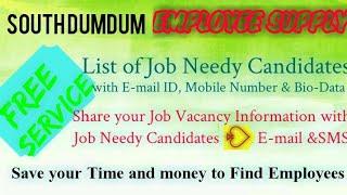 SOUTH DUMDUM   EMPLOYEE SUPPLY   ! Post your Job Vacancy ! Recruitment Advertisement ! Job Informati