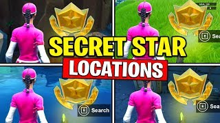 ALL SECRET BATTLE STARS Season 10 - Fortnite Week 1 to Week 10 Locations (SEASON X)