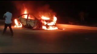 Chalti Car Mein Lagi Aag At Shamshabad Road   i20 Car   @ SACH NEWS   Prohealthywayz.