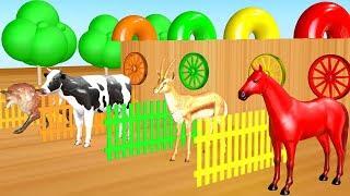 Animales de granja y salvajes jugando y comiendo helado y transforman en animales coloridos.