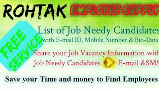 ROHTAK   EMPLOYEE SUPPLY   ! Post your Job Vacancy ! Recruitment Advertisement ! Job Information 128