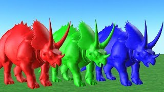 Learn Colors And Learn Animals with Dinosaur Eating Fruits And Change Colors - For Kids.