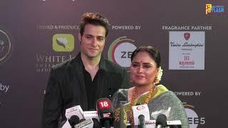Ishrat Khan of Serial Kulfi Kumar Bajewala and Hamd Khan at 12th Gold Awards Red Carpet
