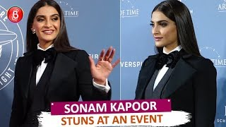 Sonam Kapoor Looks Stunning In A Black Pantsuit At An Event