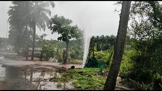 New Vehicle Wash At Guirim Junction Available In The Form Of Damaged PWD Pipeline!