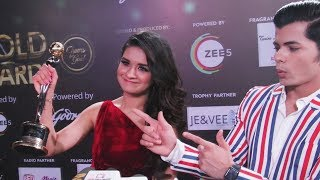 Avneet REACTS On Winning Her Debut Award With Siddharth Nigam | 12th Gold Awards 2019 | Red Carpet