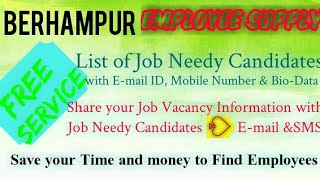 BERHAMPUR   EMPLOYEE SUPPLY   ! Post your Job Vacancy ! Recruitment Advertisement ! Job Information