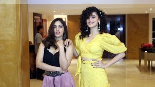 Taapsee Pannu Along With Bhumi Pednekar Spotted Promoting Their Film Saand Ki Aankh At Sun & sand