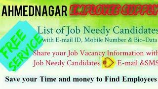 AHMEDNAGAR      EMPLOYEE SUPPLY   ! Post your Job Vacancy ! Recruitment Advertisement ! Job Informat