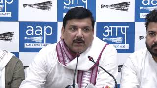 Jeetender Bansal From Congress Joins AAP in Presence of AAP Rajya Sabha Member Sanjay Singh