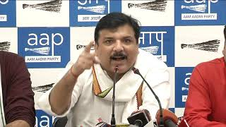 AAP Rajya Sabha Member Sanjay Singh Along with AAP Leaders Brief Media on BJP Hypocracy