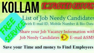 KOLLAM      EMPLOYEE SUPPLY   ! Post your Job Vacancy ! Recruitment Advertisement ! Job Information