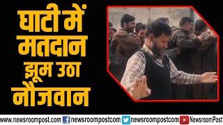 Kashmiri Voter dancing at polling booth in Naidkhai village, Baramullah