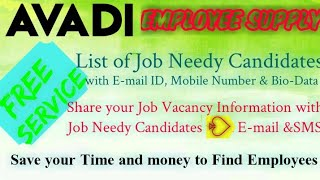 AVADI       EMPLOYEE SUPPLY   ! Post your Job Vacancy ! Recruitment Advertisement ! Job Information