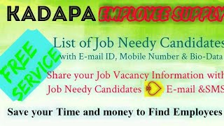 KADAPA      EMPLOYEE SUPPLY   ! Post your Job Vacancy ! Recruitment Advertisement ! Job Information
