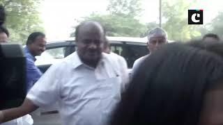 HD Kumaraswamy arrives at Tihar Jail to meet DK Shivakumar