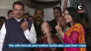 Devendra Fadnavis cast vote with family in Nagpur