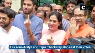Shiv Sena chief Uddhav Thackeray casts his vote along with family in Mumbai