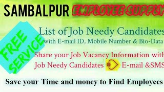 SAMBALPUR      EMPLOYEE SUPPLY   ! Post your Job Vacancy ! Recruitment Advertisement ! Job Informati