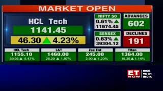 Sensex gains 200 pts, Nifty above 11,650; HCL Tech rallies 4%