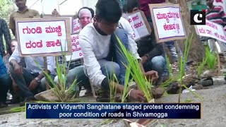 Activists highlight poor condition of roads by fishing from water-filled pothole in Shivamogga