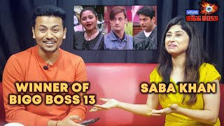 Saba Khan PREDICTS The Winner Of Bigg Boss 13 | Siddharth Shukla, Rashmi, Asim, Shehnaz