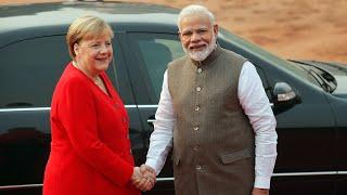 German Chancellor Merkel accorded a ceremonial welcome at Rashtrapati Bhavan