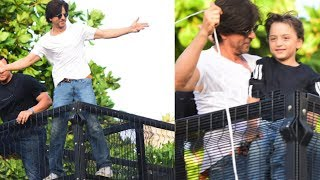 Shahrukh Khan With AbRam Greets Fans Outside Mannat | 54th Birthday