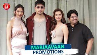 Tara Sutaria, Sidharth Malhotra, Rakul Preet Singh & Milap Zaveri At Marjaavaan Promotions