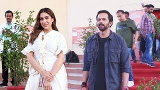 Sara Ali Khan And Rohit Shetty Spotted At Set Of Movie Masti With Maniesh Paul