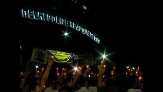Delhi: Cops hold candlelight protest at Police Headquarters