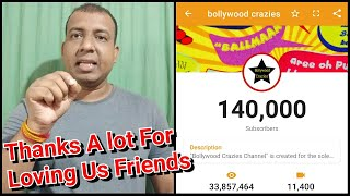 Bollywood Crazies Completes 140000 Subscribers, Thanks For Loving & Wishing Me Happy Birthday