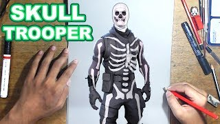 FORTNITE Drawing SKULL TROOPER - How to Draw SKULL TROOPER | Step-by-Step Tutorial - Fortnite