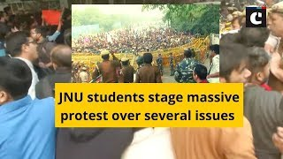 JNU students stage massive protest over several issues