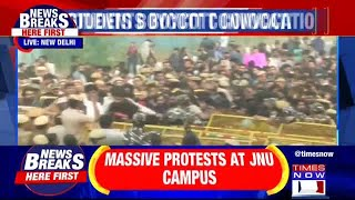 Massive protest by JNU Students over fee hike