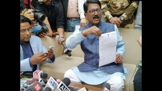 Shiv Sena's Arvind Sawant briefs media after his resignation earlier today