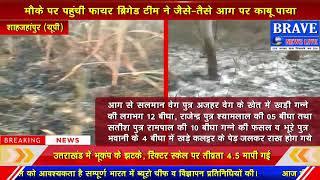 Katra : आग से 30 बीघा गन्ना व 4 बीघा कलट्टर के पेड़ जलकर राख | BRAVE NEWS LIVE